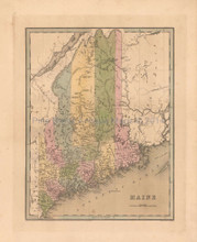 Maine Antique Map Bradford 1838