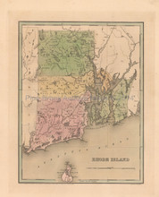 Rhode Island Antique Map Bradford 1838