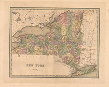 New York Antique Map Bradford 1838