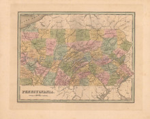 Pennsylvania Antique Map Bradford 1838