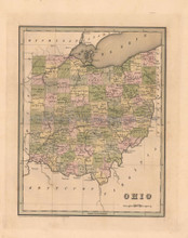 Ohio Antique Map Bradford 1838