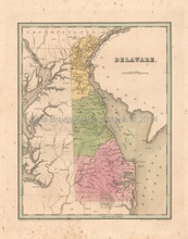 Delaware Antique Map Bradford 1838