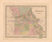 Missouri Antique Map Bradford 1838