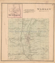 Town of Warsaw New York Antique Map Beers 1866