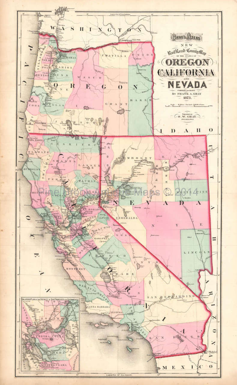 Oregon California Nevada Antique Map Gray 1873