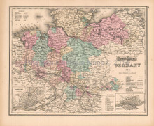 Northern Germany Antique Map Gray 1873