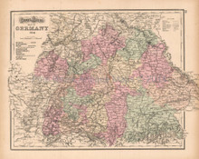 Southern Germany Antique Map Gray 1873