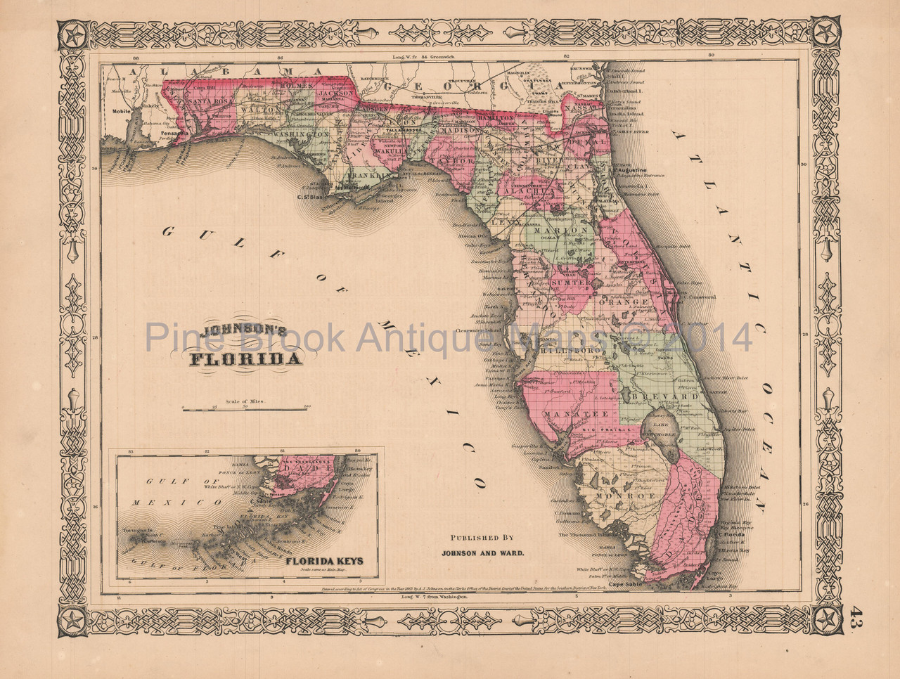 Antique Map Of Florida.Florida Vintage Map Johnson 1864 Pine Brook Antique Maps