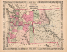 Washington Oregon Idaho Vintage Map Johnson 1864