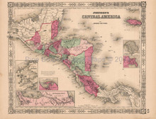 Central America Vintage Map Johnson 1864