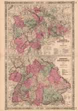Germany No. 2 & No. 3 Vintage Map Johnson 1864
