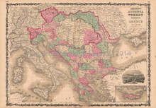 Austria Turkey Vintage Map Johnson 1864