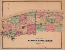 Niagara Orleans County New York Antique Map Beers 1875