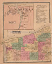 Town of Porter New York Antique Map Beers 1875
