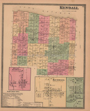 Town of Kendall New York Antique Map Beers 1875