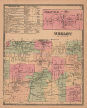 Town of Shelby New York Antique Map Beers 1875