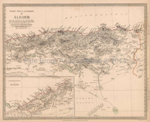 Algiers Algeria Antique Map SDUK 1834
