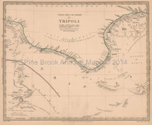 Tripoli Libya Antique Map SDUK 1837