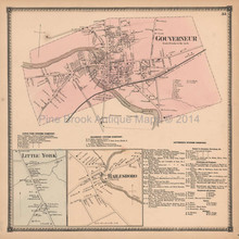 Gouverneur Hailesboro New York Antique Map Beers 1865