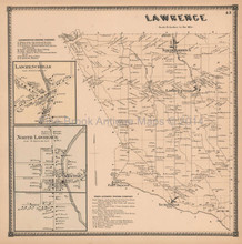 Lawrence New York Antique Map Beers 1865