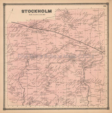Stockholm New York Antique Map Beers 1865