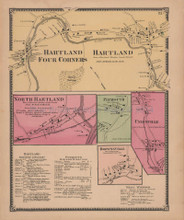 Hartland Four Corners Vermont Vintage Map Beers 1869