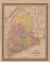 Maine Vintage Map Mitchell Cowperthwait 1853