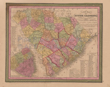 South Carolina Vintage Map Mitchell Cowperthwait 1853