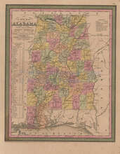 Alabama Vintage Map Mitchell Cowperthwait 1853