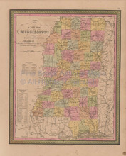 Mississippi Vintage Map Mitchell Cowperthwait 1853