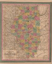 Illinois Vintage Map Mitchell Cowperthwait 1853