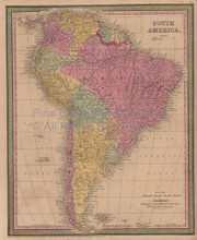 South America Vintage Map Mitchell Cowperthwait 1853