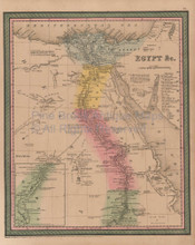 Egypt Vintage Map Mitchell Cowperthwait 1853