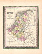 Holland Belgium Vintage Map DeSilver 1855