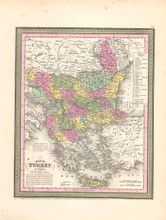Turkey Balkans Vintage Map DeSilver 1855