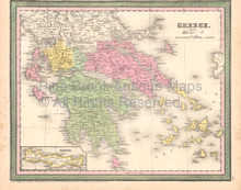 Greece Crete Vintage Map DeSilver 1855