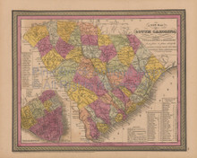 South Carolina Antique Map Mitchell Cowperthwait 1852