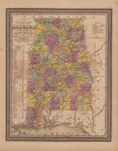 Alabama Antique Map Mitchell Cowperthwait 1852