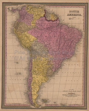 South America Antique Map Mitchell Cowperthwait 1852