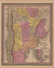Chili Argentina Antique Map Mitchell Cowperthwait 1852