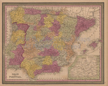 Spain Portugal Antique Map Mitchell Cowperthwait 1852