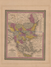 Turkey Europe Antique Map Mitchell Cowperthwait 1852