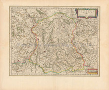 Bourges Avallon France Antique Map Blaeu 1650