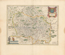 Nevers Vichy Digion France Antique Map Blaeu 1660