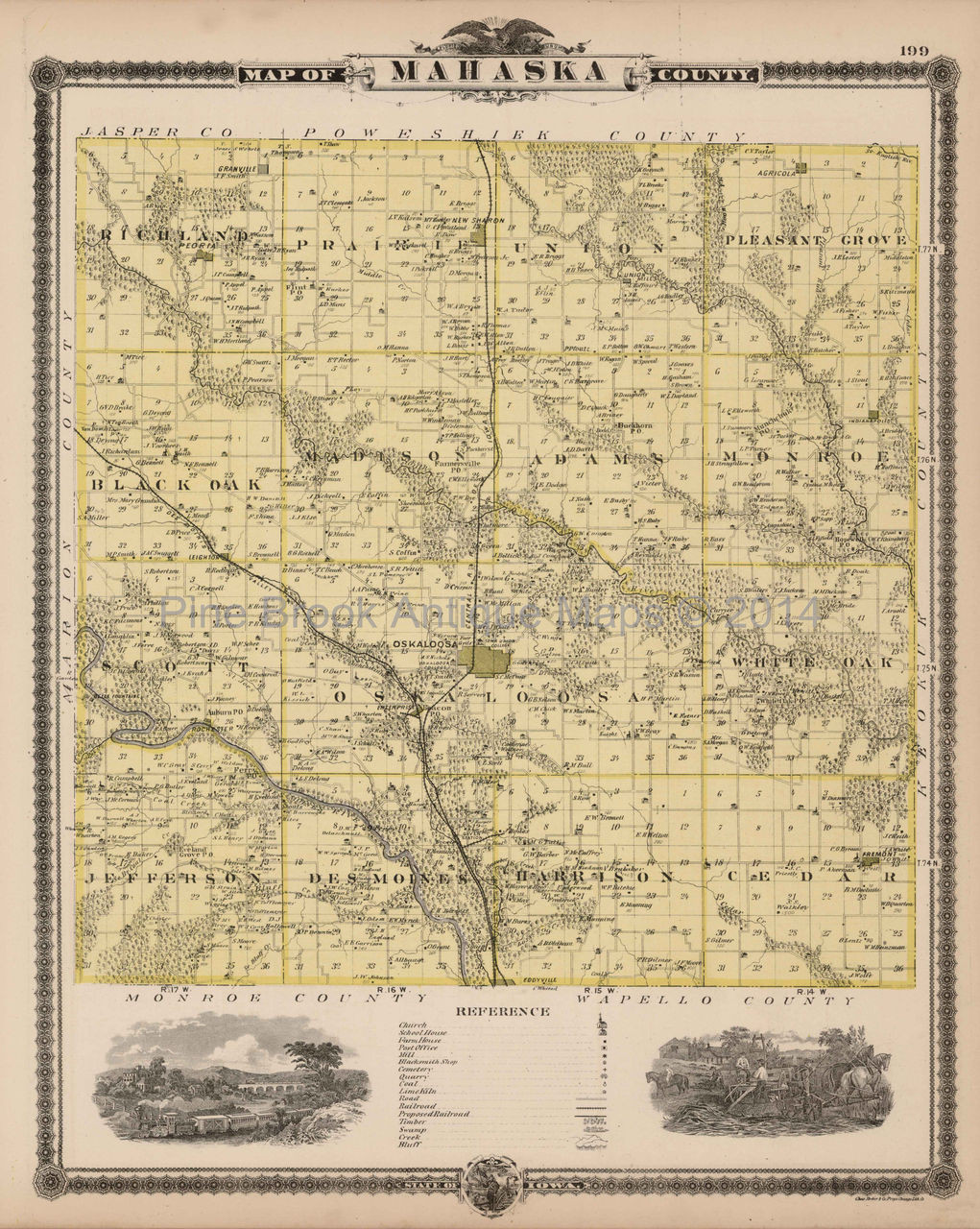 Old Iowa Map.Original Mahaska County Iowa Map Antique Andreas 1875 For Sale Home