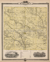 Mahaska County Iowa Map Antique Andreas 1875