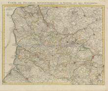Abbeville Lille Calais Bethune France Antique Map Covens & Mortier 1745