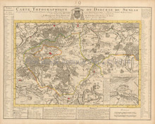 Senlis Chantilly France Vintage Map Covens Mortier 1745