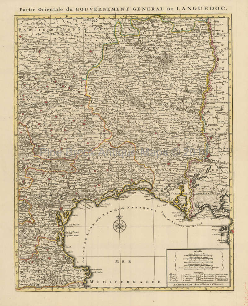 Montpellier Map Of France.Montpellier Narbonne Beziers France Vintage Map Covens Mortier 1745