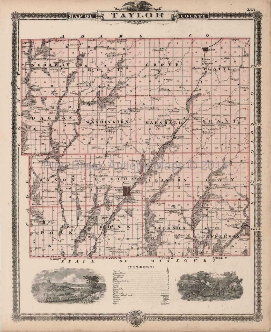 Original Taylor Ringgold County Iowa Map Antique Andreas 1875 For